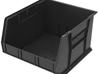 Akro Mils 30270 AkroBins Plastic Storage Bin Hanging Stacking Containers   18 Inch x 16 Inch x 11 Inch  Black   3 Pack