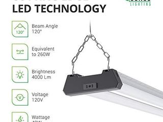 Sunco lighting Industrial lED Shop light  4 FT  linkable Integrated Fixture  40W 260W  5000K Daylight  4000 lM  Surface   Suspension Mount  Pull Chain  Utility light  Garage  Energy Star