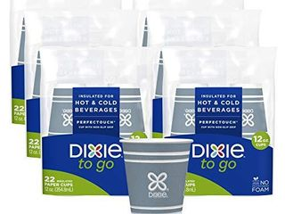 Dixie to Go Hot Beverage Cups  12oz  132 Count  Assorted Designs  Disposable Paper Coffee Cups  Cups Only