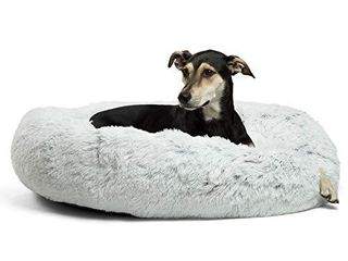 Best Friends by Sheri The Original Calming Donut Cat and Dog Bed in Shag Fur  large 36 x36  in Frost  Removable Zipper Shell  Machine Washable  DNT SHG FRS 3636 VP