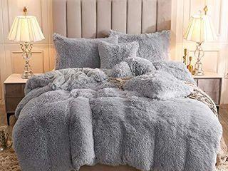 Uhamho Faux Fur Velvet Fluffy Bedding Duvet Cover Set Down Comforter Quilt Cover with Pillow Shams  Ultra Soft Warm and Durable  King  light Gray