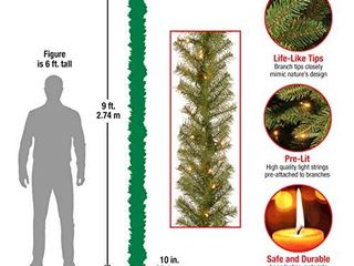 National Tree Company lit Artificial Christmas Garland Includes Pre Strung White lights Norwood Fir  9 ft