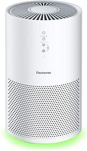 Elechomes EPI236 Pro Series Air Purifier for large Room with True HEPA Filter  Air Cleaner for Pets  Smokers  Pollen for Bedroom Home Office 280 ftA  Smart Air Sensor  Auto Mode  Timer  White