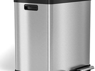 iTouchless 16 Gallon Dual Step Trash Can   Recycle  Stainless Steel lid and Bin Body with Handle  Includes 2 x 8 Gallon  30l  Removable Buckets are Color Coded  Soft close and Airtight lid