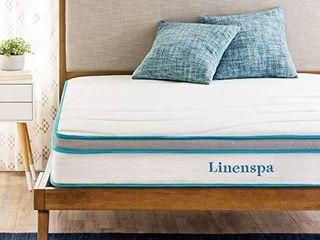 linenspa 8 Inch Memory Foam and Innerspring Hybrid Medium Firm Feel Twin Mattress  White
