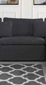 Fabric Sectional Armless Chair w  Throw Pillows