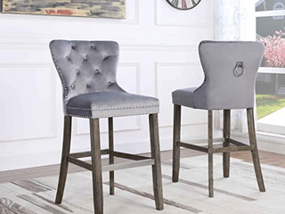 Best Quality Furniture   Navy Blue Silver   29in Set of Barstools