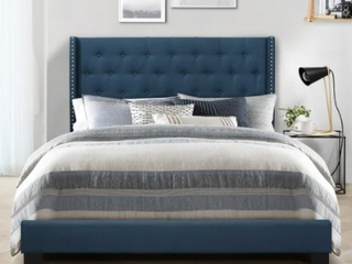 Blue   Queen Brady Upholstered Wingback Panel Bed   Retail 328 99