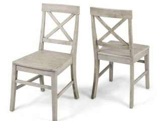 Grey  Roshan Farmhouse Acacia Dining Chairs  Set of 2  by Christopher Knight Home  Retail 149 99