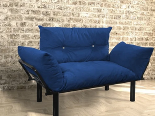 Blue 2 Seater loveseat with Metal legs Retail  151 99