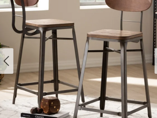 Industrial Stackable Counter Stool 2 Piece Set by Baxton Studio Retail  239 55