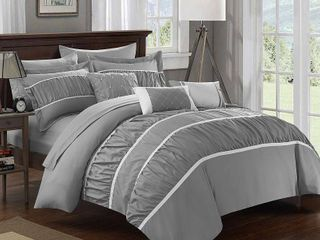 Queen 10pc Wanda Bed In A Bag Comforter Set Gray   Chic Home Design