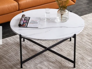 White   Modern Round coffee table golden color frame with marble wood top 32    Retail 243 49