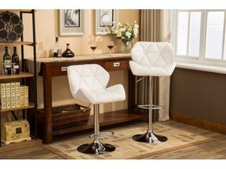 Glasgow Faux leather Tufted Adjustable height Bar Stools  Set of 2  Retail 138 99