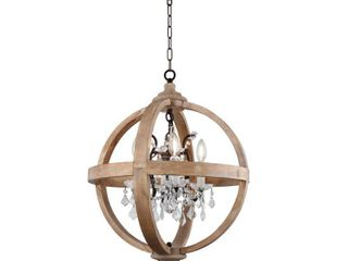 4 light Candle Style Globe Chandelier in Natural wood finish Retail 344 82