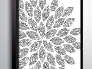 24x32 Flower Glitter Silver  Gallery Wrapped Floater framed Canvas Retail  107 99