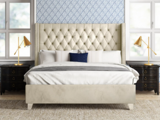 Upholstered Wingback Diamond Tufted Cream Colored Platform Bed  Queen