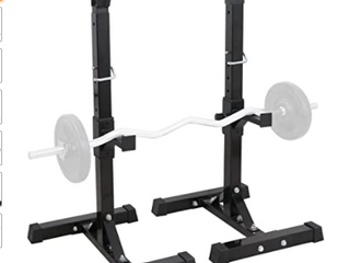 Black   Adjustable Power Squat Rack Portable Solid Steel Dumbbell Barbell Squat Stands for Home Gym Weight lifting Fitness Exercise   Retail 87 99