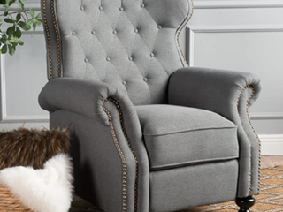 Walker Tufted Fabric Recliner   Charcoal Gray