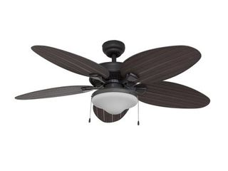 Pull Chain   EcoSure Siesta Key 52 inch Tropical Bowl light  Bronze Ceiling Fan with Palm Blades and Remote Control   Retail 136 99