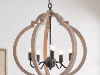 Sophia 5 light Pendant   Weathered White with Distressed Black  Retail 227 99