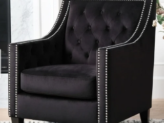 Valentinas NailHead Tufted Accent Chair Navy