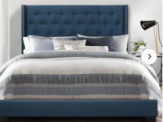 Upholstered Queen Bed Frame with FootBoard and Rails light Blue