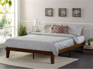 Priage Deluxe Antique Espresso Solid Wood Platform Bed King   Mattress not included