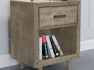 Grey  Abbyson Retro Mid Century Wood Nightstand with USB Ports  Retail 264 99