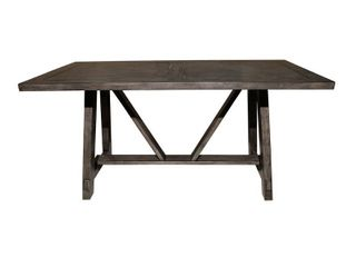 Trestle   Distressed   Wood   Assembly Required   Industrial Farmhouse   Rectangle Table Retail 405 49