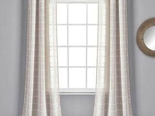 Set of 2  84 x38  Farmhouse Texture Grommet Sheer Window Curtain Panels Beige   lush Decor