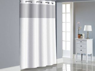 Hookless Bright White Dobby Texture Polyester Shower Curtain