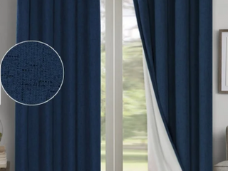 Navy   84 Inches PrimeBeau linen Blended 100  Blackout Waterproof Coating Themal Insulated Curtains