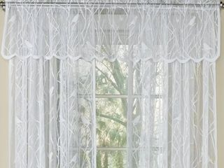White Knit lace Bird Motif Window Curtain Tiers  Valance and Swag Pair Options Set Of Two