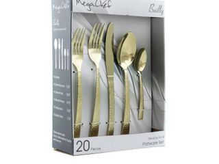 MegaChef Baily 20 Piece Flatware Utensil Set  Stainless Steel Silverware Metal Service for 4 in light Gold