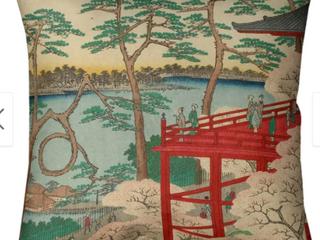 20 x 20   Red   White   Faux Suede Porch   Den Utagawa Hiroshige  Kiyomizu Hall and Shinobazu Pond at Ueno  Throw Pillow