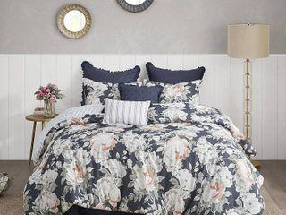 King Madison Park Kalina Dark Blue 8 Piece Cotton Printed Reversible Comforter Set   Retail 159 97