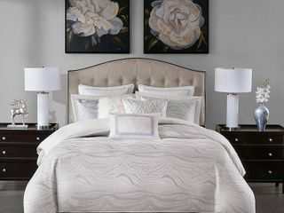 King Madison Park Signature Hollywood Glam White Comforter Set   Retail 407 48