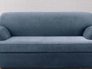 Sure Fit Stretch Stripe 2 piece T cushion Sofa Slipcover  Blue   2 Piece  Retail 112 49