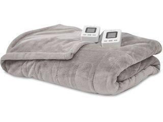 SensorPEDIC Electric Warming Blanket with SensorSafe   Two Digital Controllers  King Soft Grey