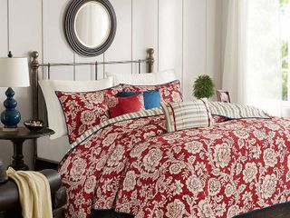 Red Rose Cotton Twill Reversible Coverlet Set  Full Queen  6pc
