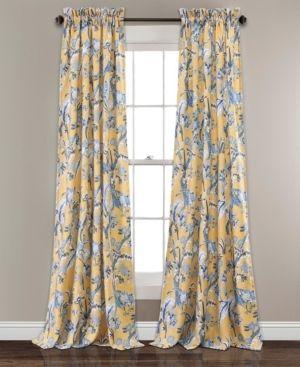 Set of 2  84 x52  Dolores Room Darkening Window Curtain Panels Yellow   lush Decor