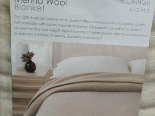 Self Hem Merino Wool Blanket   King  Ivory Oatmeal   OATMEAl  KING