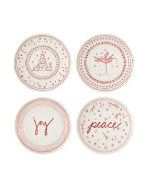 Dishwasher Safe Red Off White ED Ellen DeGeneres Crafted by Holiday Accent Plate 6 Set 4