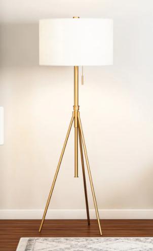 Gold   Carson Carrington Vasteras Adjustable Tripod Matte Gold Metal Floor lamp   Retail 132 49