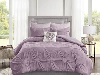 Full Queen 6pc Alicia Embroidered Cotton Reversible Comforter Set lavender