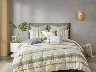 King   Cal King INK and IVY Cody Gray  Yellow Cotton Comforter Set Retail 151 49