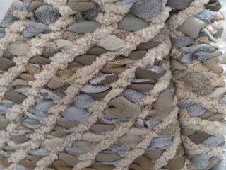Handmade   Green Beige Grey   Pouf   Pattern   leather Cotton   Cotton   Assembled   Transitional   Medium   Square   Geometric  Retail 138 99
