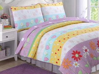 Twin Taylor   Olive Purple  White Floral Heart Reversible Quilt Set