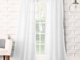84 x50  Avril Crushed Texture light Filtering Rod Pocket Curtain Panel White   No  918